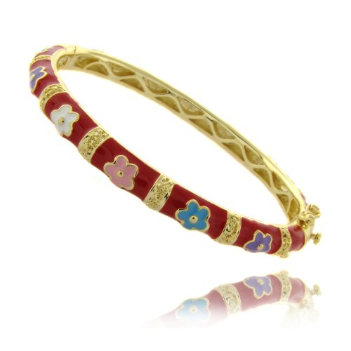 Lily Nily 18k Gold Overlay Red Enamel Multi Colored Flower Design Children's Bangle