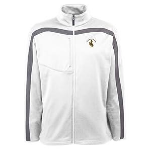 Wyoming Cowboys Jacket - NCAA Antigua Mens Viper Performance Jacket White by Antigua