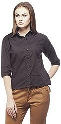 Peptrends Women's Regular Fit Shirt (SHI15156BK_M, Black, M)