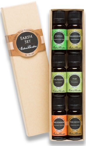 Earth 100% Pure Therapeutic Grade Essential Oil Set/ Kit- 6/ 10 Ml Of Cypress, Frankincense, Fir Needle, Pine, Meditation And Patchouli Essential Oils