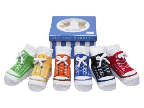 Baby Emporio - 6 paia di Calzini-per Bambini- che sembrano le Scarpe -Contentitore di Regalo-Cotone-Suole antiscivolo-0-9 Mesi