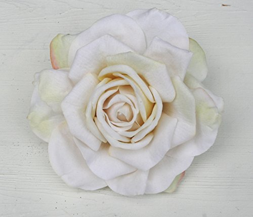 Haarschmuck XL Haarblume Ansteckblume Rose 5 Farben (weiss/zart grün)