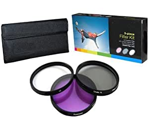 PLR Optics 58MM High Resolution 3-piece Filter Set (UV, Fluorescent, Polarizer) For The Canon Digital EOS Rebel SL1 (100D), T5i (700D), T5 (1200D), T4i (650D), T3 (1100D), T3i (600D), T1i (500D), T2i (550D), XSI (450D), XS (1000D), XTI (400D), XT (350D), 1D C, 70D, 60D, 60Da, 50D, 40D, 30D, 20D, 10D, 5D, 1D X, 1D, 5D Mark 2, 5D Mark 3, 7D, 7D Mark 2, 6D Digital SLR Cameras Which Has Any Of These (18-55mm, 75-300mm, 50mm 1.4 , 55-200) Canon Lenses