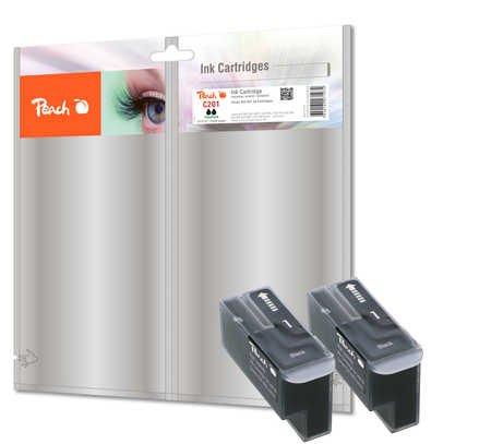 Peach C201 bk Doppelpack Tintenpatronen, kompatibel zu Canon, Xerox, Apple BJI-201 bk, schwarz