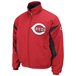 MLB Cincinnati Reds Therma Base Premier Red Black Long Sleeve Lightweight Full Zip... by Majestic