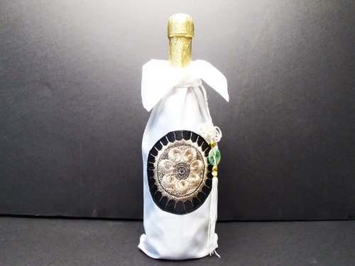 Elegant Oriental Embroidered Wine Bottle Cover in White