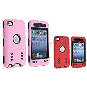 For Ipod Touch 4 G 4th Gen Pink+red Deluxe Arrow Hard Case Cover Silicone Skin