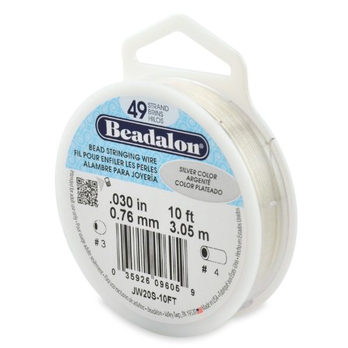 Beadalon 49-Strand Bead Stringing Wire, 0.030-Inch, Silver Color, 10-Feet (Beadalon Bead Bumpers compare prices)