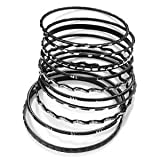Black Smooth & Textured Glitter Metal Bangles - Set of 10Pcs
