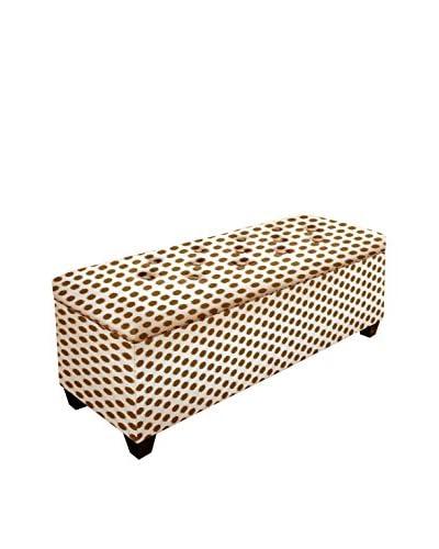 MJL Furniture Sole Secret Small Upholstered Shoe Storage Bench, Brown/White