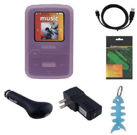 Accessories Bundle For Sandisk Sansa Clip Zip (4 Gb / 8Gb) Mp3 Player : Includes Silicone Skin Case (Pink), Lcd Screen Protector, Usb Wall Charger, Usb Car Charger, Usb Data Cable And Fishbone Style Keychain