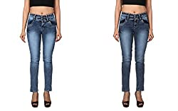 WineGlass Combo of 2 Ankle Fit Womens Stretch Denim Jeans 734ST735CH