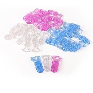 CLE DE TOUS@ 30pcs Pinza para chupetero de plástico (10pcs Color Blanco Transparente, 10pcs Azul Transparente, 10pcs Rosa Transparente) de surepromise