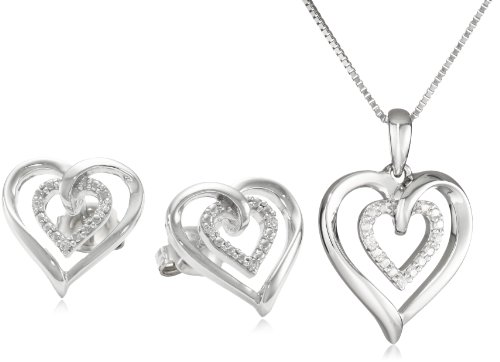 Sterling Silver Diamond-Accent Heart Pendant