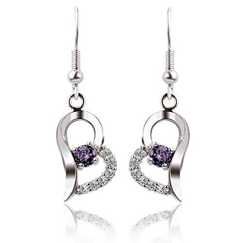 UZZO Fashion Girl Lady Women Jewerlry Heart-shaped Purple Diamond Earrings 925 Sterling Silver Plated Stud Earring Dangle Earrings Eardrop Hoop Earring With 1 free UZZO Logo Keyring
