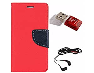 Avzax Diary Look Flip Wallet Case Cover For Samsung Galaxy S6 edge (Red) + Memory Card Reader + In Ear Headphone