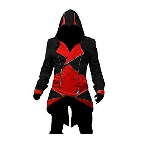 Ainiel Unisex Cosplay Connor Kenway Stitching Clothes Jackets Outwear Adult Kids (Adult-size M, Red and Black)
