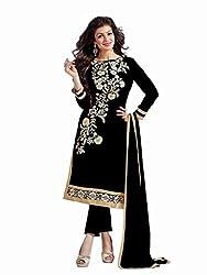 Shreenath Creation Women's Chanderi Cotton Long Salwar Suit Dress Material (Dreamgirl041_Black)