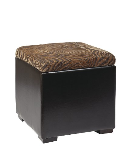 Avenue Six DTR817 Detour Storage Cube Ottoman with Tray