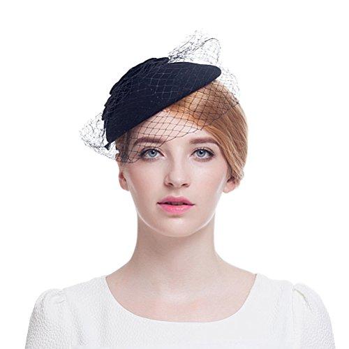Valdler British Retro Elegant Wool Nylon Hat Feather flower Fascinator coverd with Net Yarn Flowers (British Yarn compare prices)