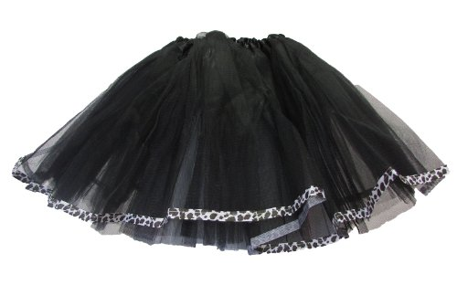 Black Ribbon Lined Dance Tutu With Leopard Trim For Children front-697206