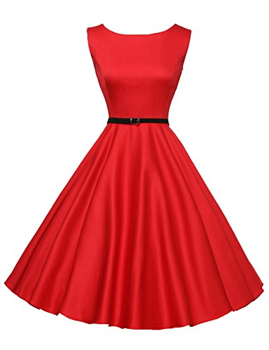 Sleeveless Vintage Wiggle Dresses Knee-length Red Size 2XL F-12