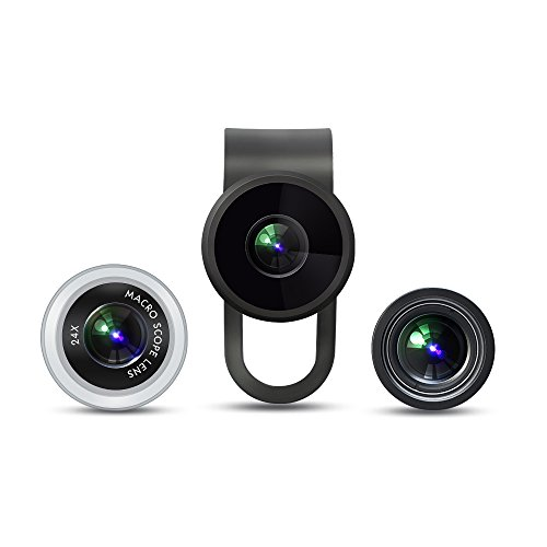 VicTsing Clip-On 3 in 1 Fisheye 12X Macro 24X Super Macro Camera Lens Kit for iPhone Android Devices