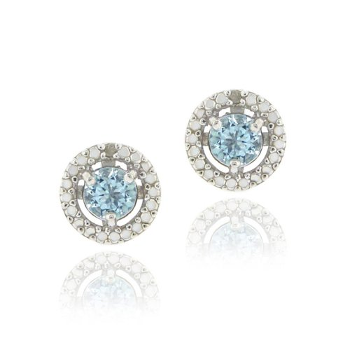Sterling Silver Blue Topaz & Diamond Accent Stud Earrings