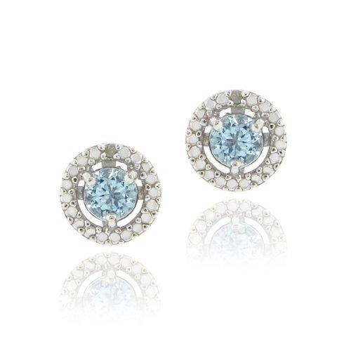 Sterling Silver Blue Topaz & Diamond Accent Stud Earrings