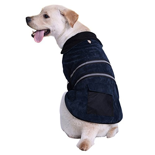 Kuoser Cozy Dog Vest with Reflective stripes Dog Winter Coat Apparel for Cold Weather Dog Jacket for Small Medium Large sized dogs with Furry Collar (S - 2XL ),Blue XL (Dog Insulated Vest compare prices)