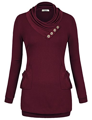 Pullover Sweatshirts for Women,Angelababy Juniors Shirt Jersey Long Sleeve Cowl Neck Cotton Pockets Button Tunic Top T-shirt Wine Red Medium