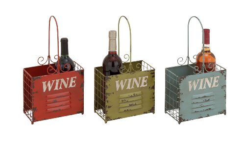 """Deco 79 Metal wine Holder 3 Assorted, 8 by 15"""""""