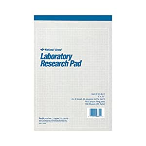 "NATIONAL Brand Laboratory Research Pad, 4 x 4 Quad, Gray, Carbonless, 8 x 11"" 50 Sheets (43641)"