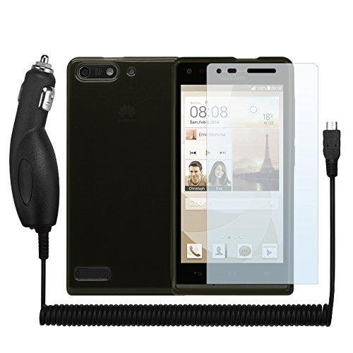 Cbus Wireless Tpu Flex-Gel Rubber Silicone Case / Skin / Cover Case, 3 Lcd Screen Protectors & Vehicle Car Charger For Huawei Ascend G6 - Transparent Black / Smoke