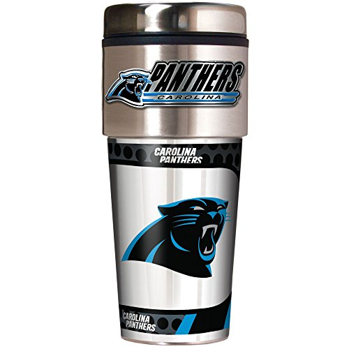 NFL Carolina Panthers Metallic Travel Tumbler, Stainless Steel and Black Vinyl, 16-Ounce