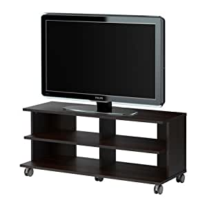 ikea benno tv bank mit rollen schwarz braun 118x42x51 cm. Black Bedroom Furniture Sets. Home Design Ideas