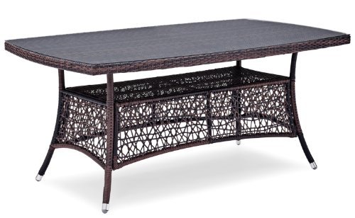 Landmann Timandra Medium Outdoor Rectangular Table with Glass Top, dark brown