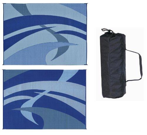 Reversible Mats 159123 Blue & Black & Gray Swirl Pattern Mat 9'x12'