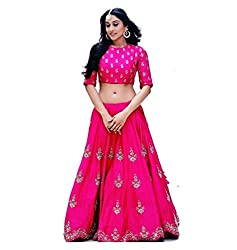 The Zeel Fashion Pink Color bhaglpoori Anarkali Unstitched lehegas set