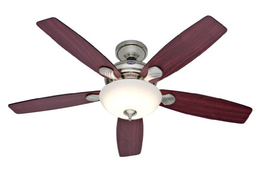 Hunter 25120 Eco-Air 52-Inch Single Light 5-Blade Ceiling Fan, Brushed Nickel With 5 Cherry/Black Blades And Frosted Glass Light Bowl