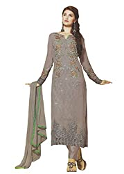 Namrah Collection Womens Georgette Resham Salwar Suit Dress Material (1017_Grey)