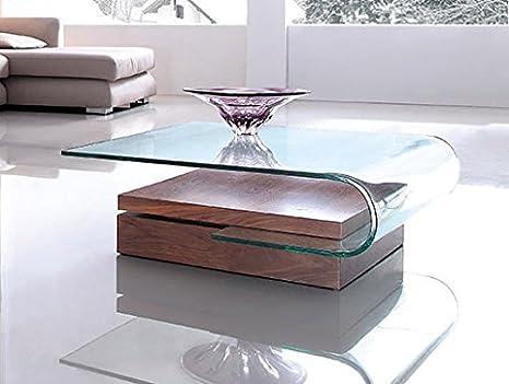 Design Couchtisch Wood Swing aus Glas klar | 100 x 96 x 33cm | Sockel aus Holz | Wohnzimmer Glastisch aus einem Stuck gebogen | hochwertig verarbeitet