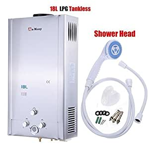 Ridgeyard 18l lpg propane gas tankless instant for 4 bathroom tankless water heater