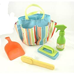 Toy Cleaning Tote Set -5 Pieces with Dust Pan, Mini Broom, Spray Bottle, Sponge (Blue)