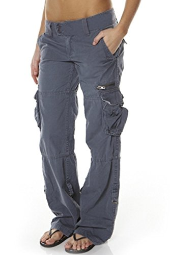 Uncinba Womens Loose Jeans Solid Color Straight Trousers with Pockets, Grey, Medium (Women Color Jeans compare prices)