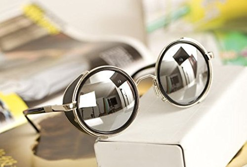 Mirror lens Round Glasses Cyber Goggles Steampunk Sunglasses(light silver mirror) by Glasses KING (Glasses Steam compare prices)