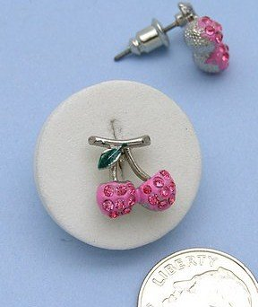 Small Silver Plated Juicy Pink Crystal Cherry