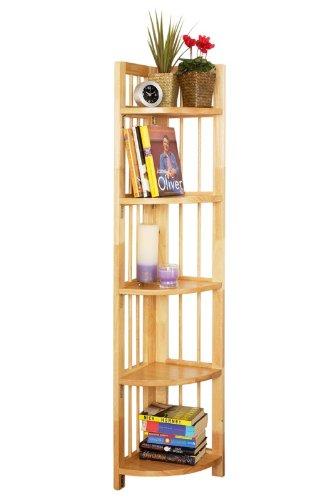 5 TIER FOLDING WOOD BOOK UNIT CORNER SHELVE BOOKSHELF BOOKCASES