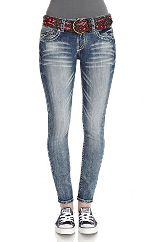 WallFlower Juniors Belted Curvy Skinny Jeans in Ashlee Size: 1 (Junior Jeans Size 1 compare prices)