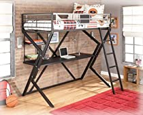 Big Sale Dinsmore Black Metal Twin Loft Bed with Desk